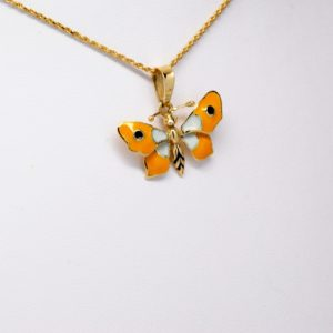 14k Yellow Gold Black, White & Yellow Enamel Butterfly Pendant-0