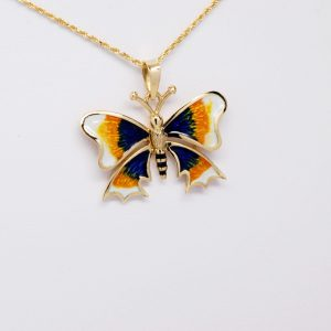 14k Yellow Gold Blue, White, Yellow & Black Enamel Butterfly Pendant-0