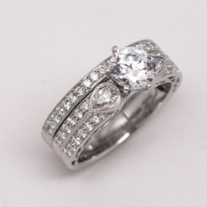 18k Two-Tone Diamond Semi-Mount / Bridal Set By Designer Simon G-0