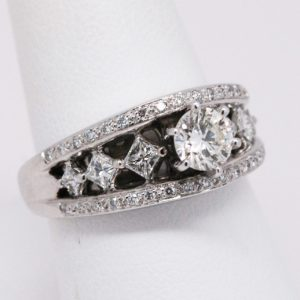 14k White Gold Round & Princess Diamond Solitaire Engagement Ring-0