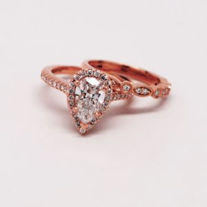14k Rose Gold Pear Shaped CZ And Diamond Bridal Set