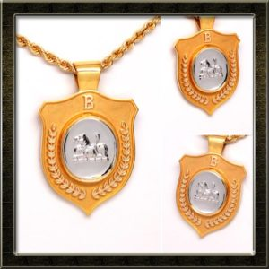 Family Crest Pendant 14k Two-Tone Gold