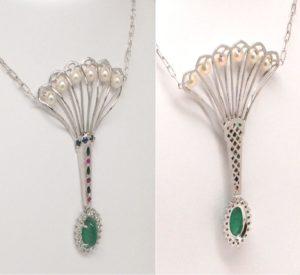 Art Deco Design Multicolor Gemstone Necklace