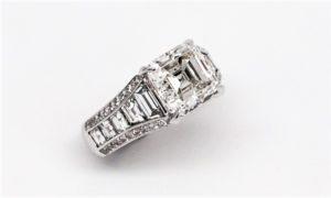 Custom Made Asscher Shape Diamond Engagement Ring 18k White GOld