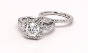Custom Round Diamond Halo Bridal Set 14k White Gold
