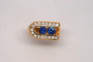 Men's Sapphire & Diamond Ring 14k Yellow Gold