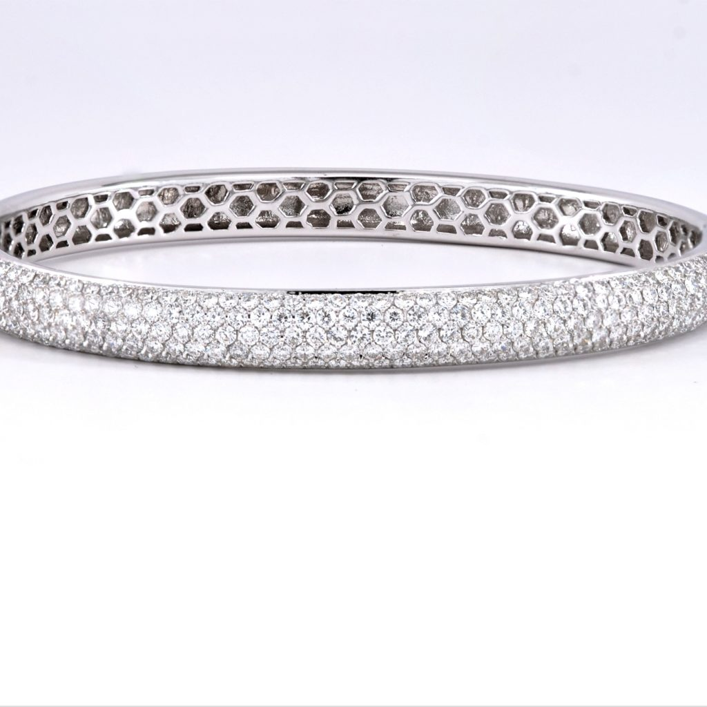 White Gold Cuff Bracelet: 4ctw Round Diamond Bangle Bracelet 18k White Gold