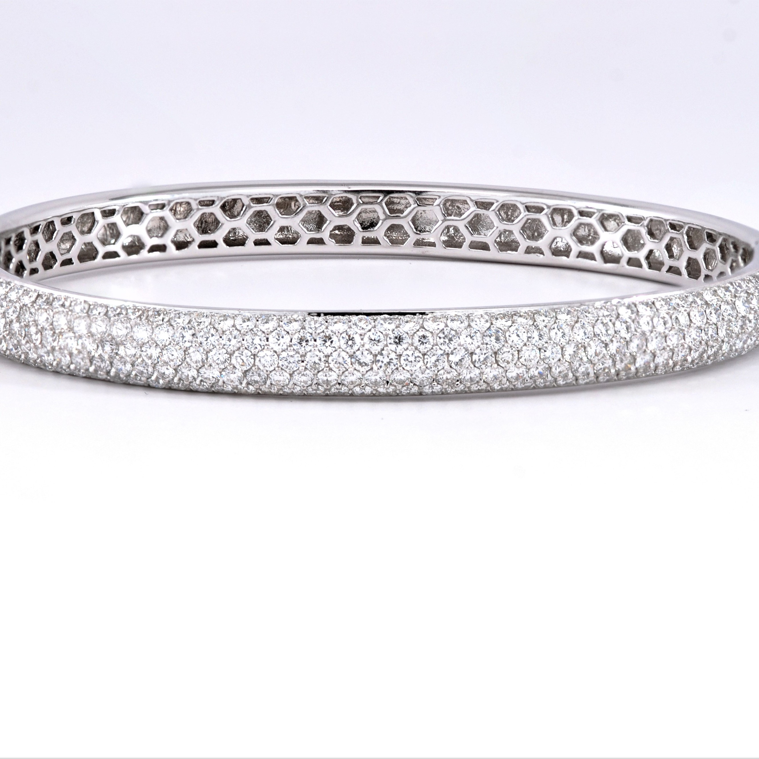 img estate bangle pave bracelet gold white round diamond in vintage bangles