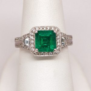 14k White Gold 1.75ct Square Emerald And Round Diamond Halo Ring