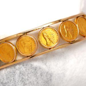 14k Yellow Gold Mexican Gold Pesos Coin Design Bangle Bracelet