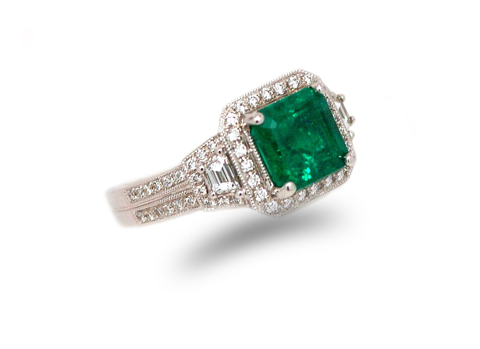 Emerald Sterling Silver Ring with Diamond Accents//Round-Shaped