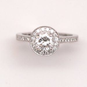 14k White Gold 1.21ctw Round Diamond Halo Engagement Ring