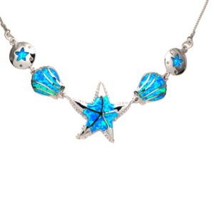 Lab Created Black Opal Sea-Life Necklace Sterling Silver