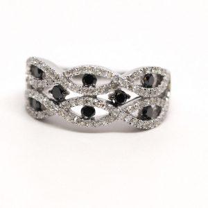 Black & White Round Diamond Band 14k White Gold 1ctw