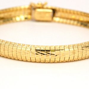 Diamond Cut Flexible Bangle Bracelet 14k Yellow Gold