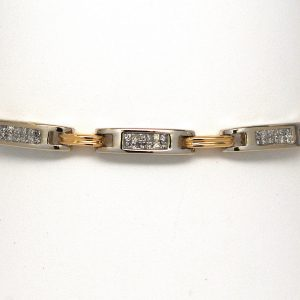 Princess Diamond Bar Link Bracelet 14k Two-Tone Gold
