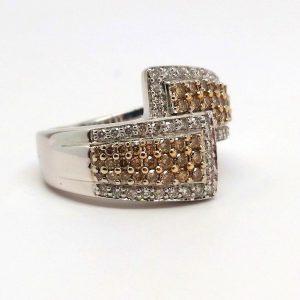Chocolate & White Round Diamond Bypass Ring 14k White Gold