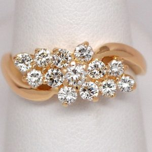 1ctw Bypass Design Round Brilliant Band 14k Yellow Gold