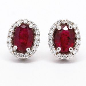 Oval Red Ruby & Round Diamond Halo Stud Earrings 14k White Gold