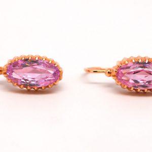 Pink Oval Cubic Zirconia Earrings 14k Yellow Gold