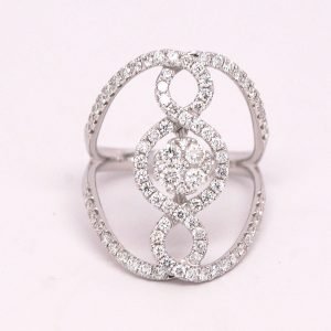 1.50ctw Negative Space Round Diamond Ring 18k White Gold
