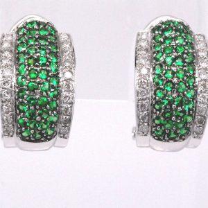 Tsavorite Green Garnet Gemstone Diamond Omega Clip Earrings 14k White Gold