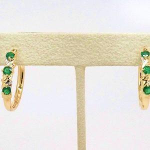 Round Emerald & Diamond Hoop Earrings 14k Yellow Gold