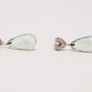 Mint Green Amethyst & Round Diamond Heart Earrings 18k White Gold