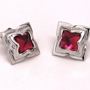 Amethyst & Round Diamond Floral Design Stud Earrings 14k White Gold