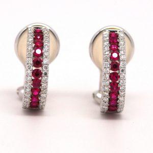 Ruby & Round Diamond Huggie Omega Clip Earrings 18k White Gold