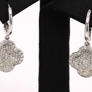 1ctw Clover Round Diamond Leverback Dangle Earrings 14k White Gold