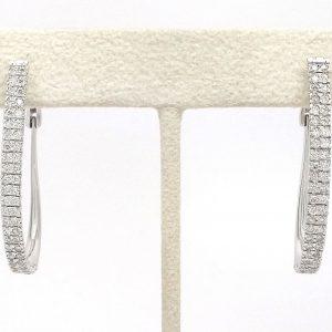1ctw Round Diamond Oval Shaped Hoop Earrings 14k White Gold