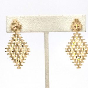 Chandelier Mesh Design Dangle Earrings 14k Yellow Gold
