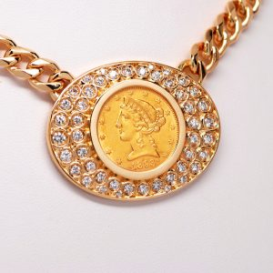Liberty $5 Gold Coin & Round Diamond Necklace 14k Yellow Gold