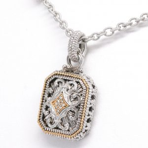 Vintage Design Diamond Enhancer Pendant Necklace Gabriel & Co. 18k & Sterling Silver