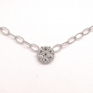 18k White Gold 2ctw Round  Diamond Cluster Necklace Chain Hand-made Italian