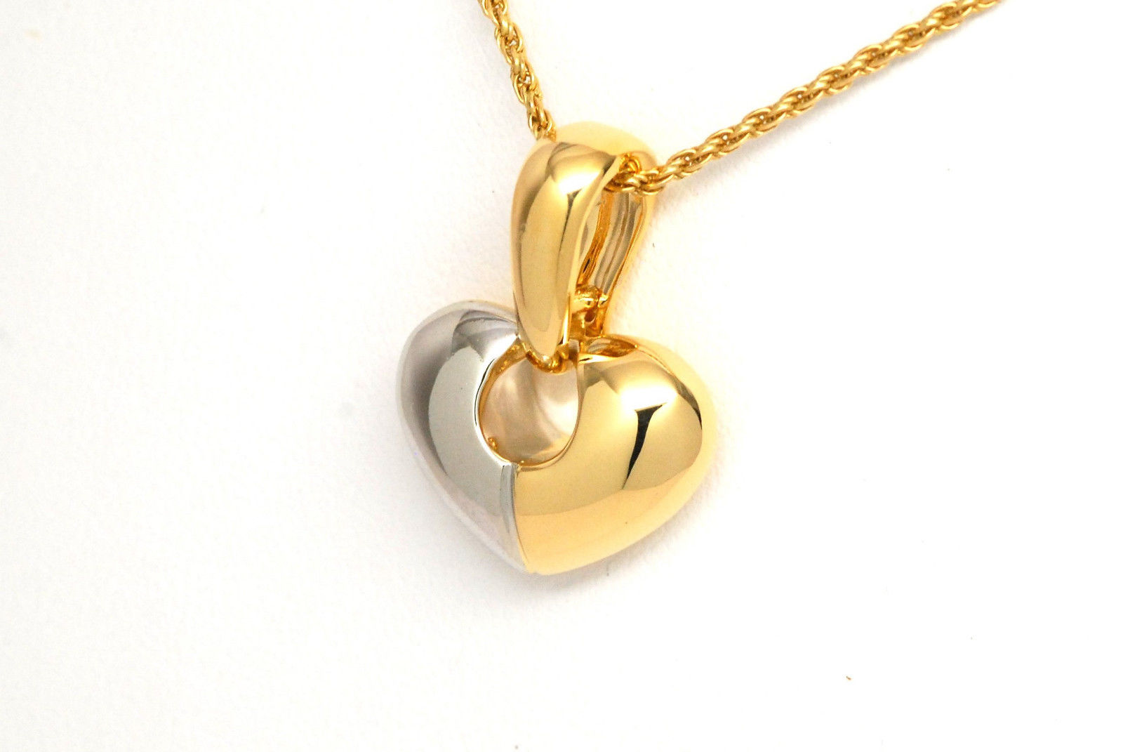 Chimento puffed heart pendant enhancer 18k two tone gold kappys chimento 18k two tone puffed heart pendant mozeypictures Choice Image