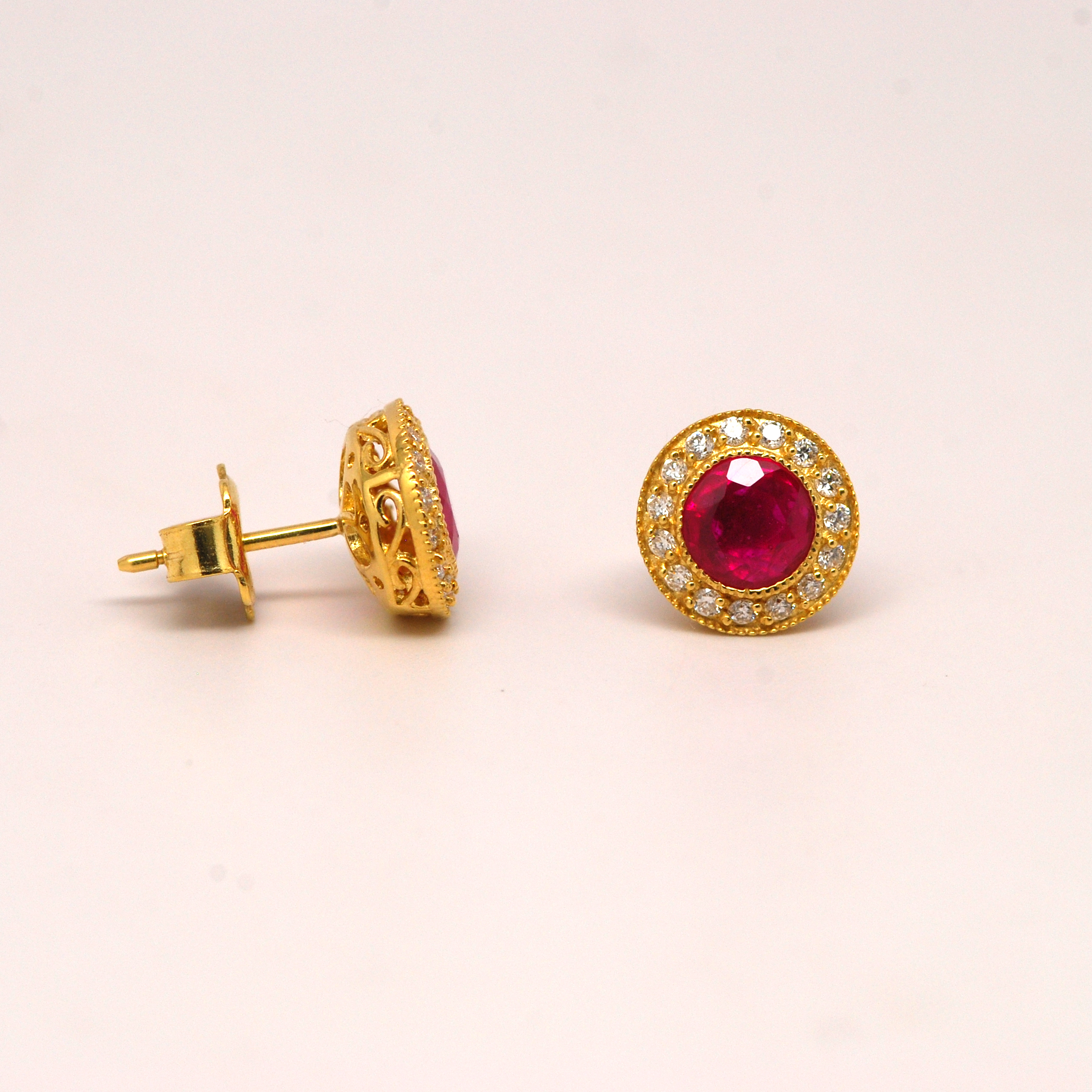 gold cut yellow red cubic marquise earrings stud ruby halo tcw plated and zirconia simulated