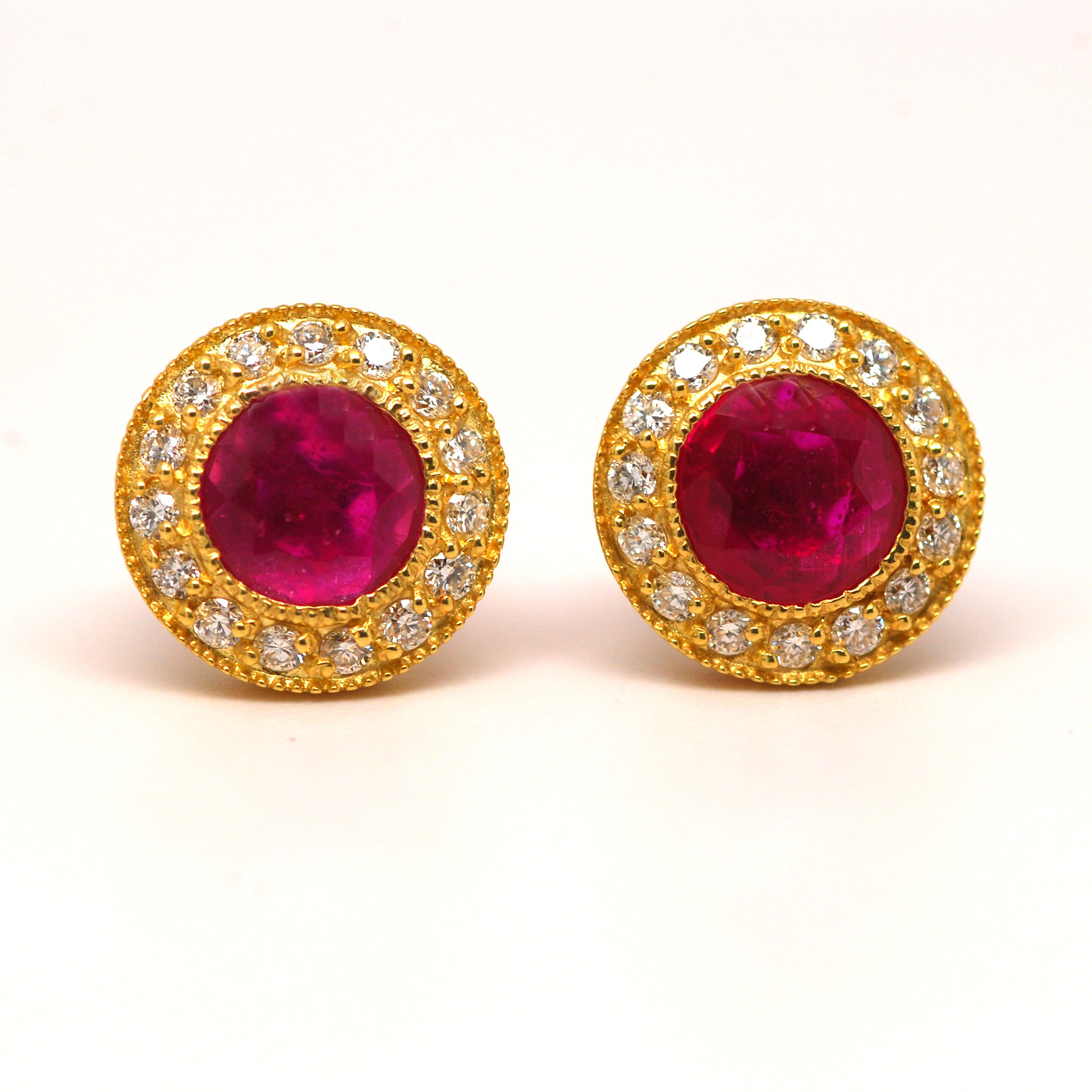 white diamond and ruby oval cocktail image gold ring in