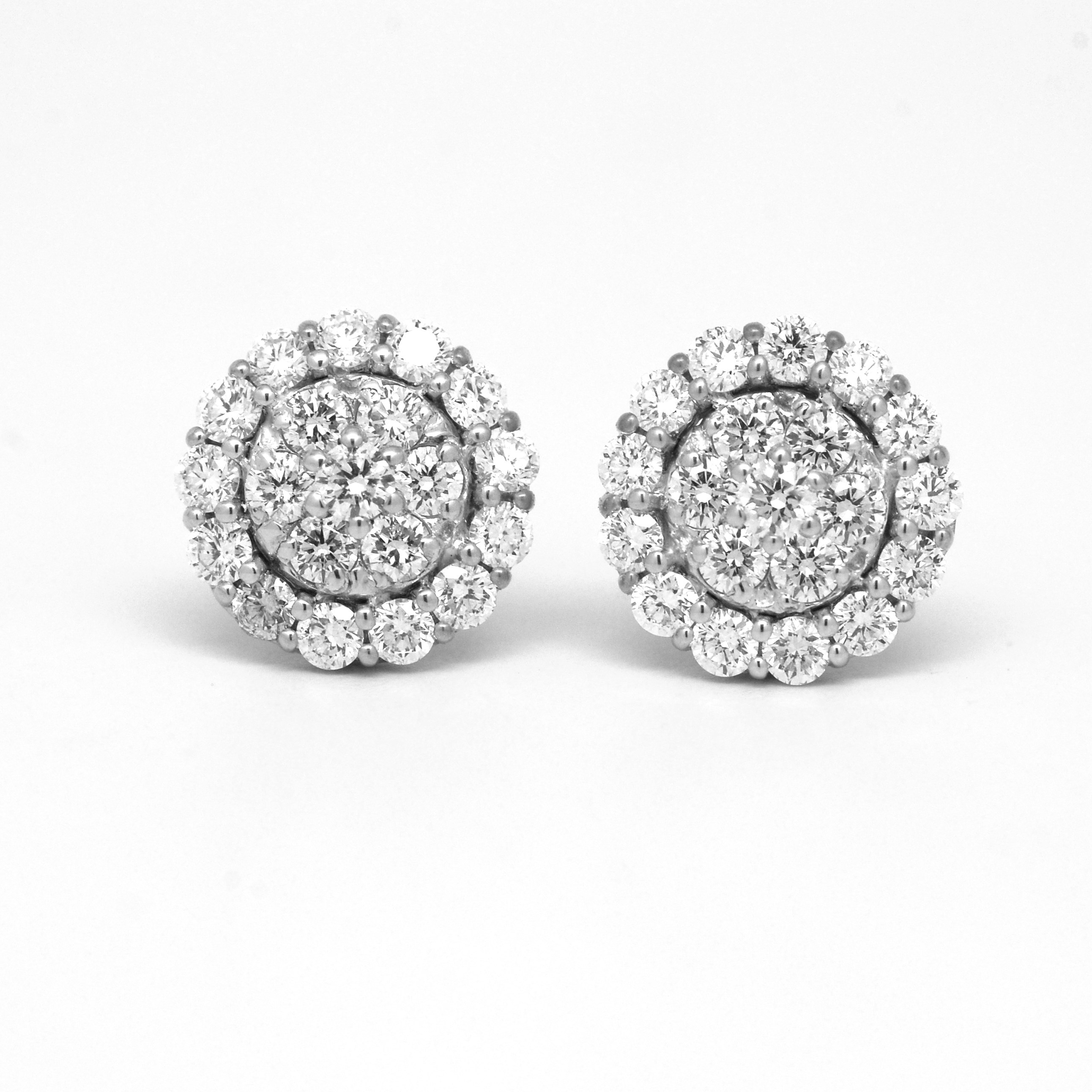 flower earrings gold stud diamond white