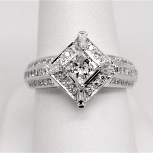 Sideways Princess Cut Baguette Round Diamond Engagement Ring 14k White Gold