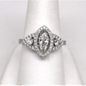Marquise Shaped 3-Stone Engagement Ring 18k White Gold
