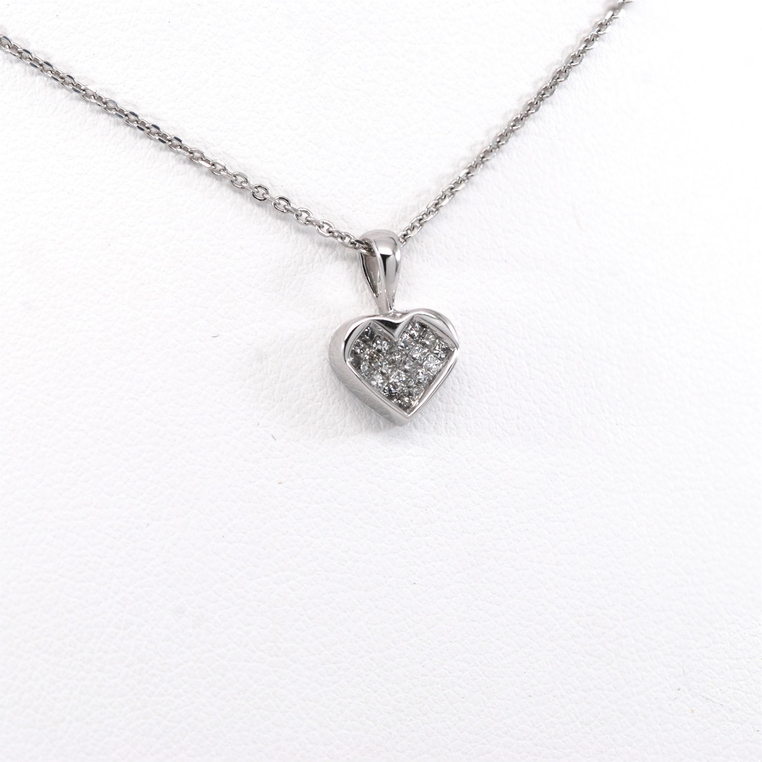 14ctw princess diamond heart pendant charm 14k white gold kappys 14ctw princess cut diamond heart pendant charm 14k white gold aloadofball Images