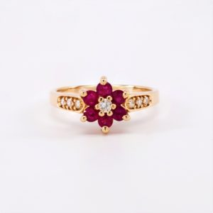 Ruby & Diamond Cluster Ring 14k Yellow Gold