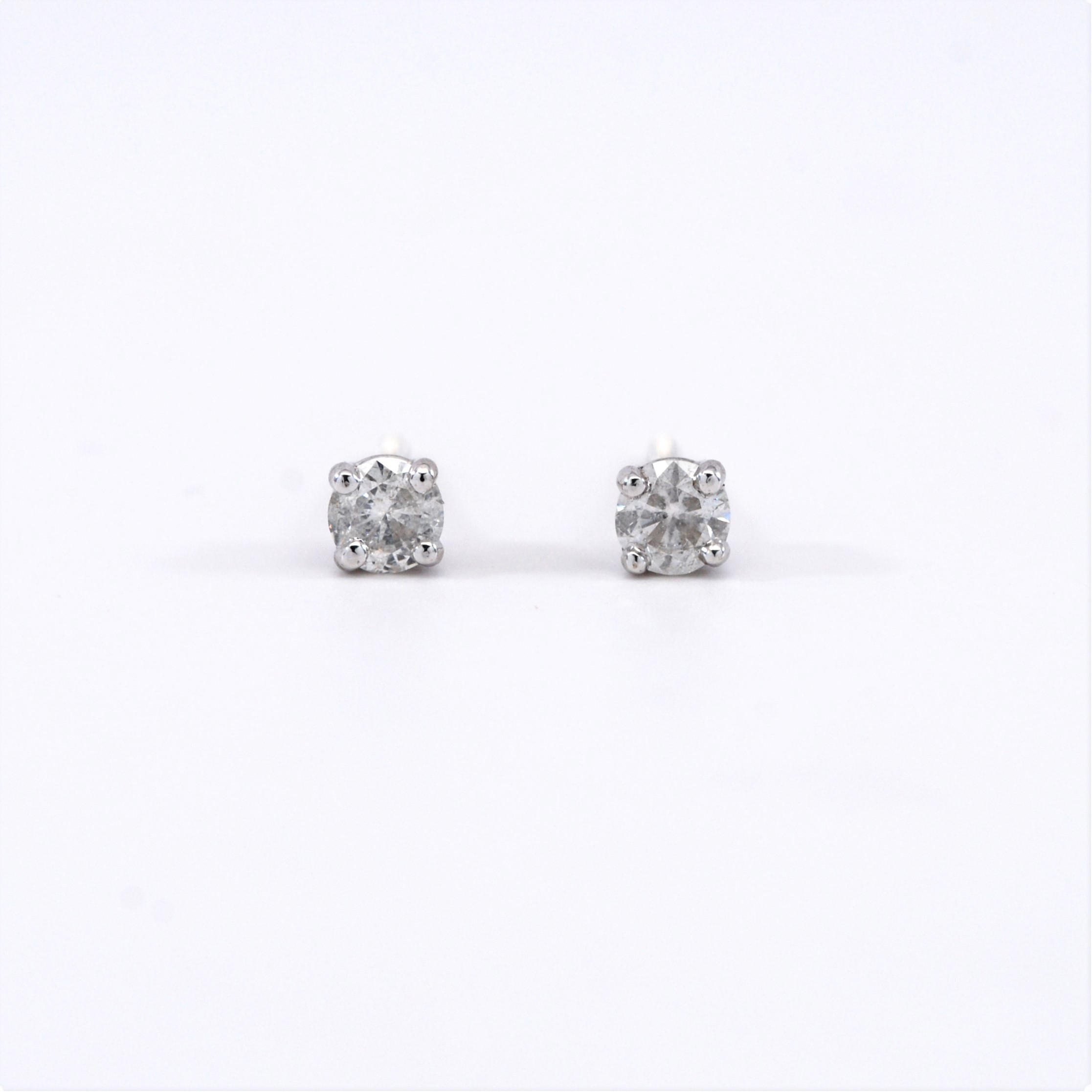 stud diamond earrings g round clarity shop white gold color