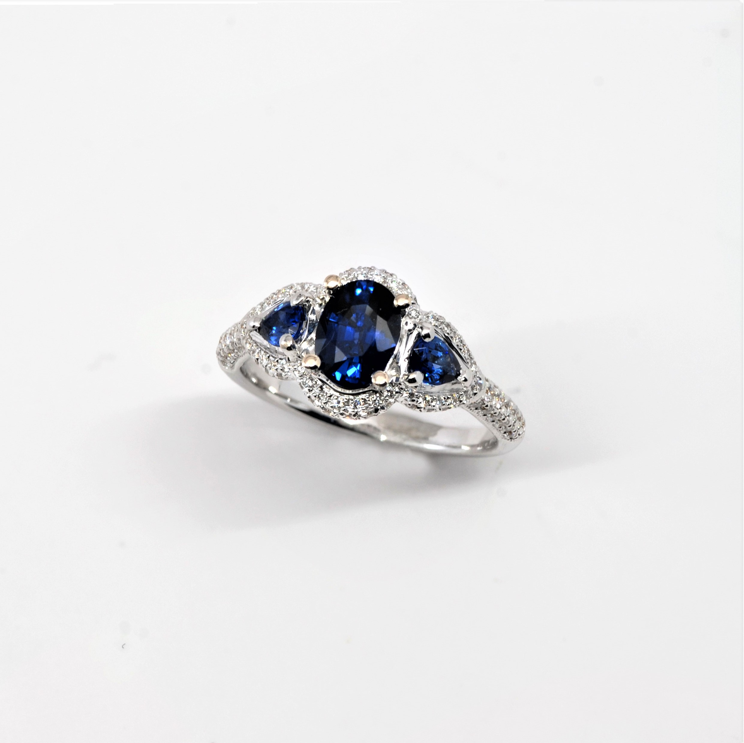 e896d2bf3fbcc 3-Stone Diamond Halo Sapphire Ring 14k White Gold